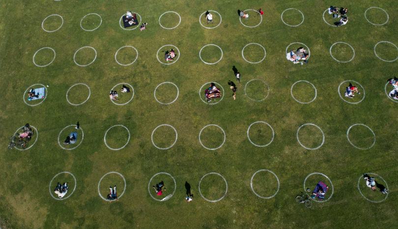 Social-distancing circles at Dolores Park in San Francisco, California